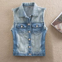 Women's Retro Washed Sleeveless Cardigan Jeans Denim Vest Coat Jacket AP = 1930193412