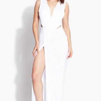 White Side Cut Draped Maxi Dress @ Cicihot sexy dresses,sexy dress,prom dress,summer dress,spring dress,prom gowns,teens dresses,sexy party wear,ball dresses