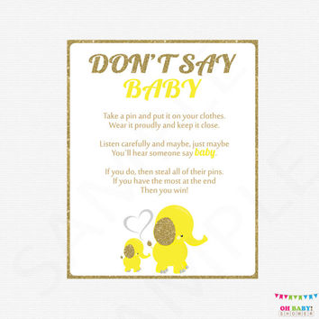 Don't Say Baby, Gold Yellow Elephant Baby Shower, Printable Elephant baby shower games + sign, baby elephant, instant download EL0004-yg