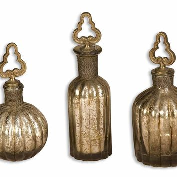 Kaho Antique Silver Perfume Bottles, Set of 3 by Uttermost