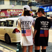 Cute Womens White Black Yeezy T-Shirt