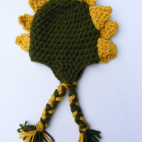 Stegosaurus Dinosaur Crochet Baby Boy Hat 0-3 M or 3-6 M Made in Green Hat & Yellow Spikes Mixed braided Straps More Sizes Available