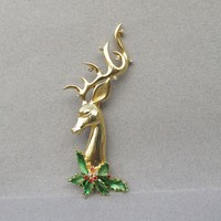 BIG Signed JJ Rhinestone & Enamel Reindeer Head Vintage Christmas Pin