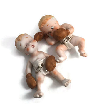 Vintage Baby Figurines -  Boxing Gloves Babies, Diapers Safety Pins, Bisque Ceramic Pair, Boxer Babies 1940s Japanese Import, Piano Babies