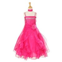 Cinderella Couture Big Girls' Cascading Organza Dress Fuchsia 8 (1101)