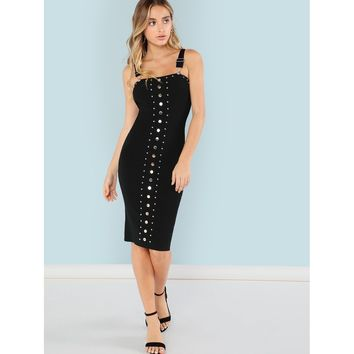 Studded Ribbed Knit Bodycon Dress with Suspender Straps
