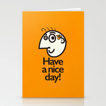 Have A Nice Day Happy Character Stationery Cards by Boriana Giormova | Society6