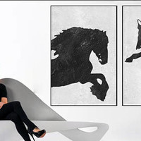 Large Abstract horse painting Original Acrylic Painting black and white wall art acrylic painting, Modern large living room wall decor