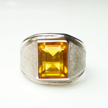 Vargas Ring Sterling Silver Citrine Amber Yellow Glass Retro Mens Jewelry