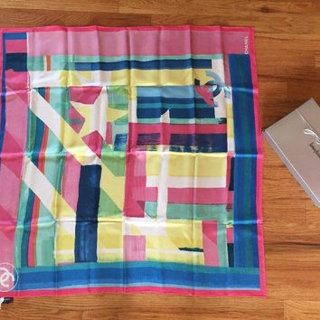 NWT Authentic Chanel Coco Cuba cruise Logo Pink Runway Square Silk Scarf Gift