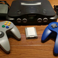 Nintendo 64 console, n64 system,  video game console, Nintendo 64 bundle, 2 controllers,  hook ups, memory card