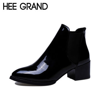 Glossy Artificial Leather Women Ankle Boots Fashion Woman's Black And Red Shoes XWX3177
