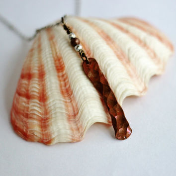 Hammered Copper Necklace, Wire Wrapped, Recycled Copper Wire Pendant, Handmade Artisan Copper Jewelry By Hendywood