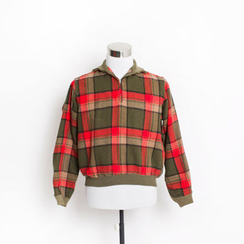 Vintage 1950s Sweater - Green & Red Plaid Knit Men's Light Weight Pullover Jacket 1960s - Medium