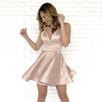 Picture Perfect Skater Dress In Gold