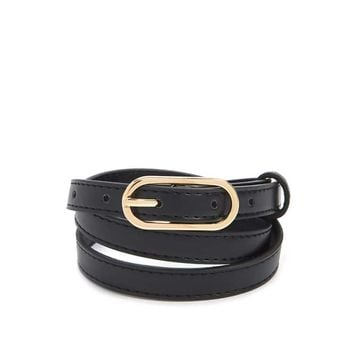 Faux Leather Skinny Belt