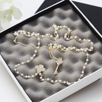 Key and Clover Pearl Vintage Multi-layered Necklace