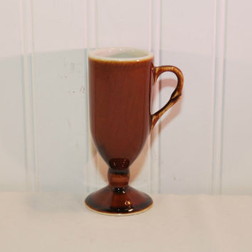 Vintage Hall China Small Footed Brown Drip Mug (c. pre-1998) Aperitif, Restaurant Ware, Vintage China, Coffee Cup, Liqueur, Collectible