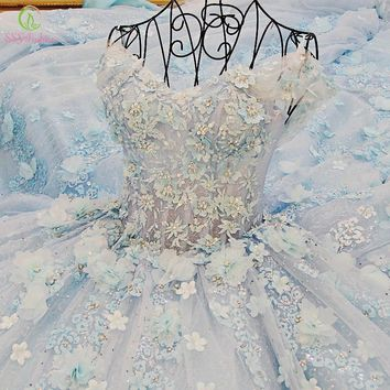 SSYFashion Luxury Lace Flower Bride Wedding Dress High-grade Romantic Crystal Beading Banquet Ball Gown Party Formal Dresses