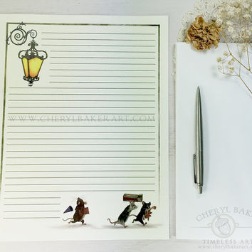 Mice Stationery Paper - Stationery Paper Set - Stationery Set - Writing Paper - Lined Paper - Writing Paper Stationery - Woodland Paper