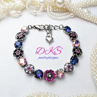 Floral Shimmer, Swarovski 8mm Flower Bracelet, multi Color, Spring, Summer, Jewelry Gifts, DKSJewelrydesigns, FREE SHIPPING