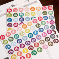 96 matte birthday stickers, party sticker, life planner stickers, scrapbook reminder, birthday cupcake, erin condren planner stickers