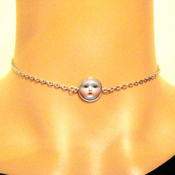 Baby Face Chain Choker, 90s Grunge, Weird Jewelry, Chain Link Choker, Vintage Baby Doll, 90's Jewelry