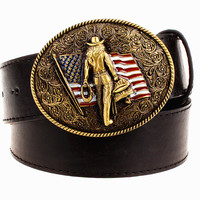 Wild Personality Men's belt metal buckle colour western cowboy belts American cowboy style trend belt for men gift