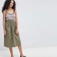ASOS Cotton Midi Skirt with Button Front at asos.com