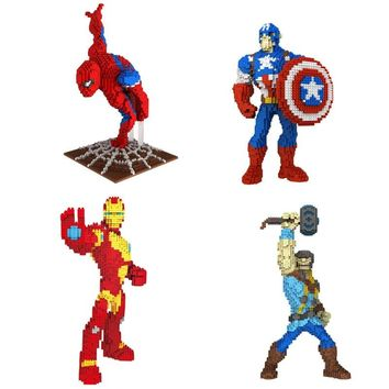 Super heroes marvel avenger figures micro diamond building block ironman thor spiderman captain america nanoblock toys collector