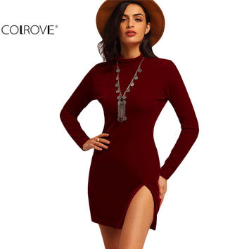 COLROVE Women Spring Style Sexy 2016 Fitted Dresses Casual Woman New Arrival Red Long Sleeve Mock Neck Slim Mini Dress