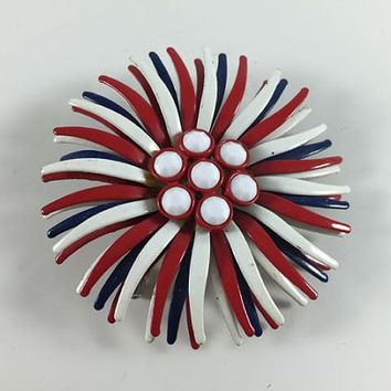 Vintage Retro Enamel Costume Jewelry Red White Blue Patriotic 4th of July Flower Starburst Firework Brooch Pin