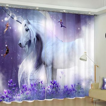 Animal Unicorn Luxury Blackout 3D Window Curtains For Living Room kids Bedroom Drapes Cortina Rideaux Customized size pillowcase