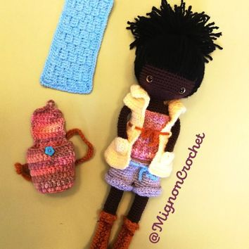 Black doll with  casual outfit and yoga backpack - pretty doll - one of a kind - designer MignonCrochet- french made