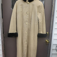vintage EVANGELIA   pure silk  with black  faux fur collar and cuffs  opera long trench coat size small thinsulate lined