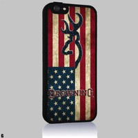 Browning Deer USA Flag Iphone 4/4s 5 5c 6 6plus Case (iphone 6 black)