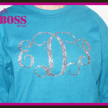 Ladies Bling Shirt Monogram Custom Made with your Wording Sparkle Glitter Custom Design your own Colors, Name Birthday Personalized
