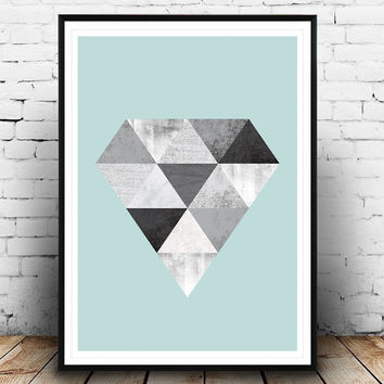 Diamond poster, Scandinavian design, Geometric art, diamond print, nordic design, Triangles print, Watercolor abstratct, minimalist print