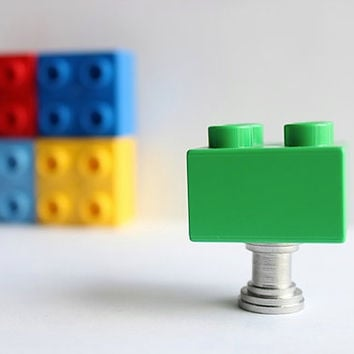Kids Drawer Knobs made with Toy Brick in Dark Green (TK03)