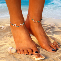 Turquoise Beads Anklet Dolphin Chain Beach Anklets Cross Foot Bracelets