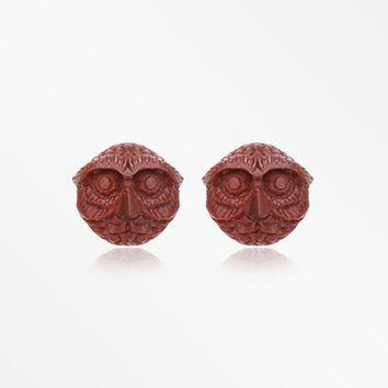 A Pair of Mr. Owl Handcarved Wood Earring Stud