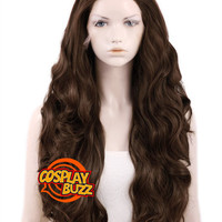 """28"""" Long Curly Brown Customizable Lace Front Synthetic Hair Wig LF686D - CosplayBuzz"""