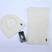 POLO New fashion winter knit wool scarf cap couple keep warm hat White