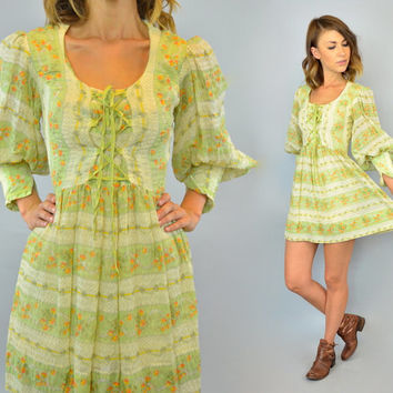 CORSET bohemian vtg 70s hippie prairie delicate romantic floral POET SLEEVE mini dress, extra small