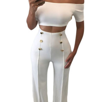 White Off Shoulder Crop Top High Waisted Button Down Pant Set
