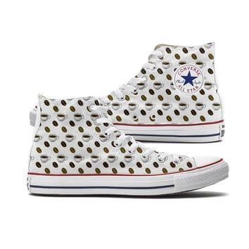 Coffee Emoji Converse High Top Custom Chucks