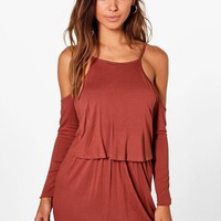 Petite Nina Cold Shoulder Frill Long Sleeve Dress | Boohoo
