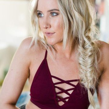 Strappy Lace Front Bralette - Burgundy