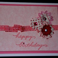 Handmade Happy Birthday Card - Pink Flowers Gemstones | foreversmemories - Cards on ArtFire