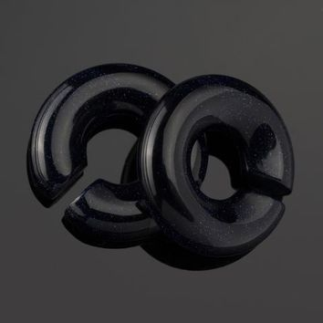 "Blue Goldstone Rings 2G (6.5mm) - 3/4"" (19mm)"